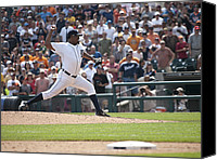 Detroit Tigers Art Canvas Prints - The Pitch Canvas Print by Cindy Lindow