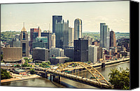 City Of Bridges Photo Canvas Prints - The Pittsburgh Skyline Canvas Print by Lisa Russo