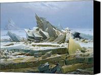 Shipwreck Painting Canvas Prints - The Polar Sea Canvas Print by Caspar David Friedrich