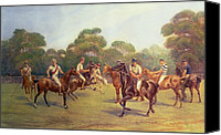 Match Painting Canvas Prints - The Polo Match Canvas Print by C M  Gonne