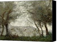 1875 Canvas Prints - The Pond Canvas Print by Jean Baptiste Corot