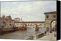 Riverside Canvas Prints - The Pontevecchio - Florence  Canvas Print by Antonietta Brandeis