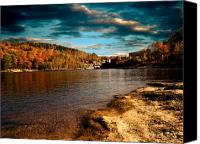 White Canvas Prints - The Pool Below Upper Falls Rumford Maine Canvas Print by Bob Orsillo