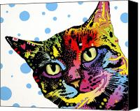 Dean Russo Mixed Media Canvas Prints - The Pop Cat Canvas Print by Dean Russo