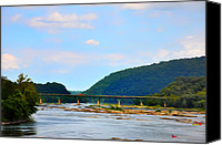 Harpers Ferry Canvas Prints - The Potomic River West Virginia Canvas Print by Bill Cannon
