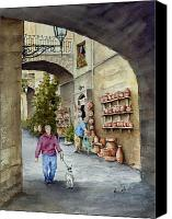 Shop Painting Canvas Prints - The Pottery Shop Canvas Print by Sam Sidders