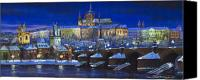 Old Pastels Canvas Prints - The Prague Panorama Canvas Print by Yuriy  Shevchuk