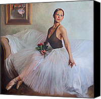 Dance Ballet Roses  Canvas Prints - The Prima Ballerina Canvas Print by Anna Bain