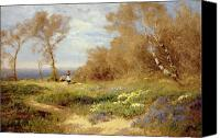 Clayton Painting Canvas Prints - The Primrose Gatherers Canvas Print by John Clayton Adams