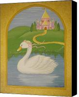 Nursery Artwork Drawings Canvas Prints - The Princess Swan Canvas Print by Valerie Chiasson-Carpenter