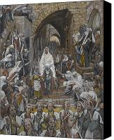 Donkey Painting Canvas Prints - The Procession in the Streets of Jerusalem Canvas Print by Tissot