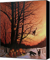 Scary Painting Canvas Prints - The Pumpkin Tree Canvas Print by Tom Shropshire