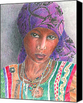 Portraits Drawings Canvas Prints - The Purple Scarf  Canvas Print by Arline Wagner