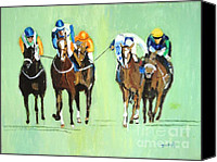 Horse Art Canvas Prints - The Race is On Canvas Print by Judy Kay