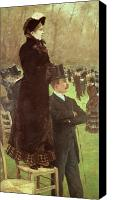 Top Canvas Prints - The Races at Auteuil Canvas Print by Joseph de Nittis