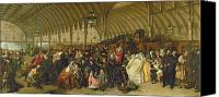 Oil Lamp Painting Canvas Prints - The Railway Station Canvas Print by William Powell Frith