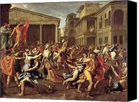 Mythological Canvas Prints - The Rape of the Sabines Canvas Print by Nicolas Poussin