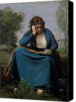 Reading Canvas Prints - The Reader Crowned with Flowers Canvas Print by Jean Baptiste Camille Corot