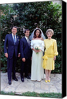 First Ladies Canvas Prints - The Reagan Family At Patti Daviss Canvas Print by Everett