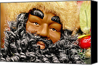 Vintage Canvas Prints - The Real Black Santa Canvas Print by Christine Till