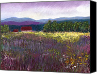 Landscapes Pastels Canvas Prints - The Red Barn Canvas Print by David Patterson