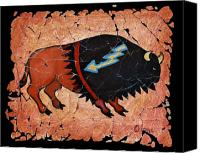 Buffalo Mixed Media Canvas Prints - The Red  Buffalo fresco Canvas Print by OLena Art