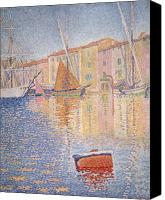 Yachts Painting Canvas Prints - The Red Buoy Canvas Print by Paul Signac