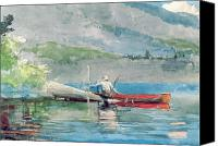 Watercolor On Paper Canvas Prints - The Red Canoe Canvas Print by Winslow Homer