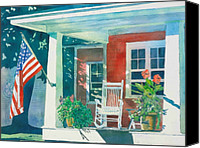 American Canvas Prints - The Red Cottage Canvas Print by LeAnne Sowa