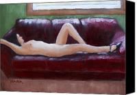 Nude Painting Canvas Prints - The Red Couch Canvas Print by Bill Brauker