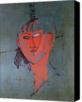 Modigliani Canvas Prints - The Red Head Canvas Print by Amedeo Modigliani