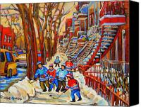 Hockey In Montreal Painting Canvas Prints - The Red Staircase Painting By Montreal Streetscene Artist Carole Spandau Canvas Print by Carole Spandau
