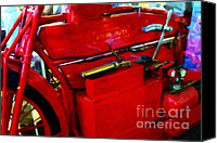 Made In The Usa Digital Art Canvas Prints - The Red Steam Flyer . Steam Powered Motorcycle . 7D14374 Canvas Print by Wingsdomain Art and Photography