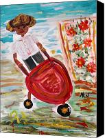 Tomboy Canvas Prints - The Red Steel Barrow Canvas Print by Mary Carol Williams