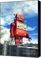 Strange Canvas Prints - The Red Tin Robot and the City Canvas Print by Luca Oleastri