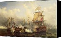Oil  Canvas Prints - The Redoutable at Trafalgar Canvas Print by Auguste Etienne Francois Mayer