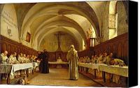 Dining Hall Canvas Prints - The Refectory Canvas Print by Theophile Gide