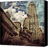 Featured Canvas Prints - The resting Lion - NYC Canvas Print by Joel Lopez