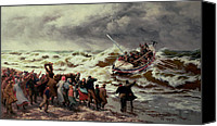 Storm Painting Canvas Prints - The Return of the Lifeboat Canvas Print by Thomas Rose Miles