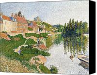 Signac Canvas Prints - The River Bank Canvas Print by Paul Signac