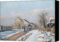 Ice Figures Canvas Prints - The Road from Gisors to Pontoise Canvas Print by Camille Pissarro
