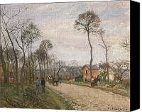 Louveciennes Painting Canvas Prints - The Road from Louveciennes Canvas Print by Camille Pissarro