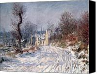 Icy Canvas Prints - The Road to Giverny in Winter Canvas Print by Claude Monet