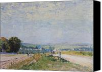 Louveciennes Canvas Prints - The Road to Montbuisson at Louveciennes Canvas Print by Alfred Sisley