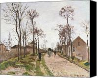 Louveciennes Canvas Prints - The Road to Saint Cyr at Louveciennes Canvas Print by Camille Pissarro