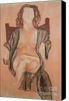 Female Figure  Drawings Canvas Prints - The Robe Canvas Print by Lj Lambert