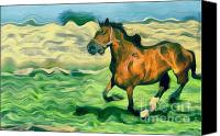 Dewy Painting Canvas Prints - The running horse Canvas Print by Odon Czintos