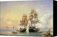 Gunfire Canvas Prints - The Russian Cutter Mercury captures the Swedish frigate Venus on 21st May 1789 Canvas Print by Aleksei Petrovich Bogolyubov