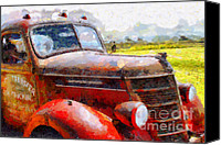 Old American Truck Canvas Prints - The Rusty Old Jalopy . 7D15509 Canvas Print by Wingsdomain Art and Photography