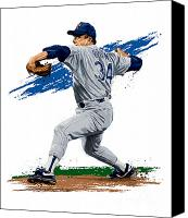 Major League Baseball Digital Art Canvas Prints - The Ryan Express Canvas Print by David E Wilkinson